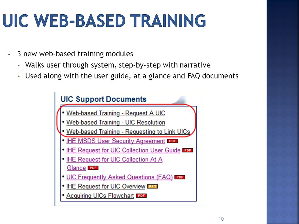 UIC Web-based training