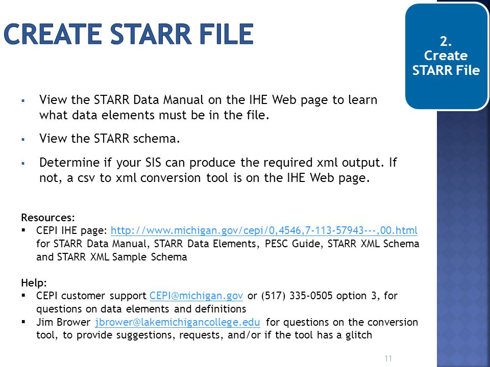 Create STARR file 2. Create STARR File