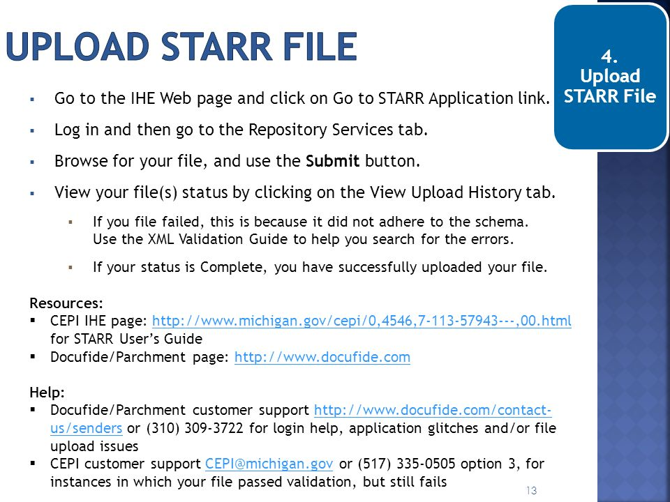Upload STARR file 4. Upload STARR File