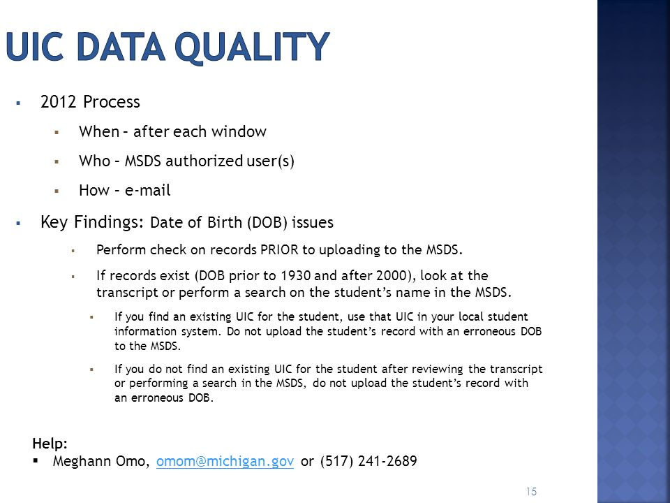 UIC Data Quality 2012 Process Key Findings: Date of Birth (DOB) issues