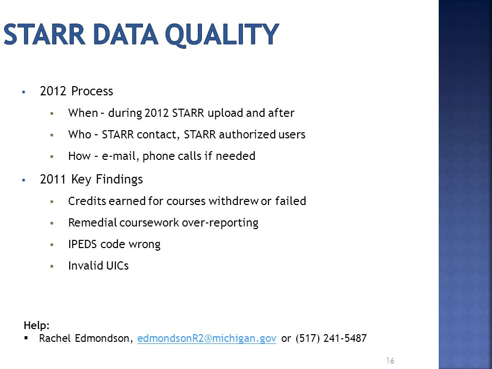 STARR Data Quality 2012 Process 2011 Key Findings