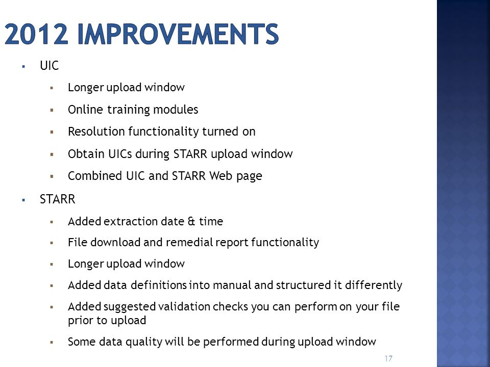 2012 improvements UIC STARR Online training modules