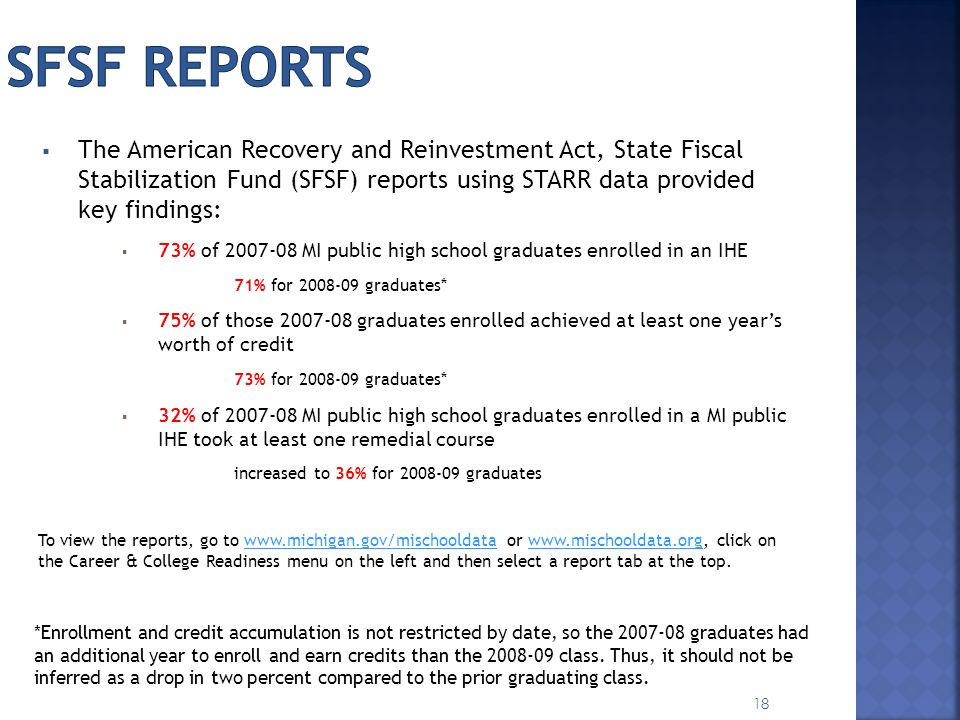 SFSF reports The American Recovery and Reinvestment Act, State Fiscal Stabilization Fund (SFSF) reports using STARR data provided key findings: