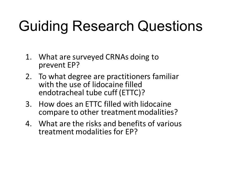 Guiding Research Questions