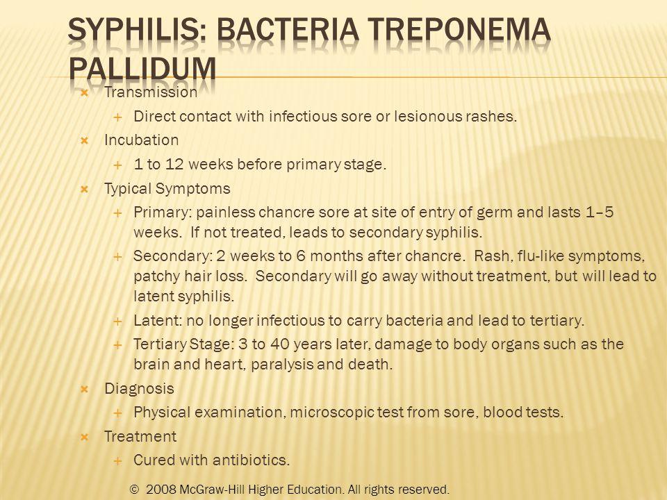 Syphilis: bacteria Treponema pallidum