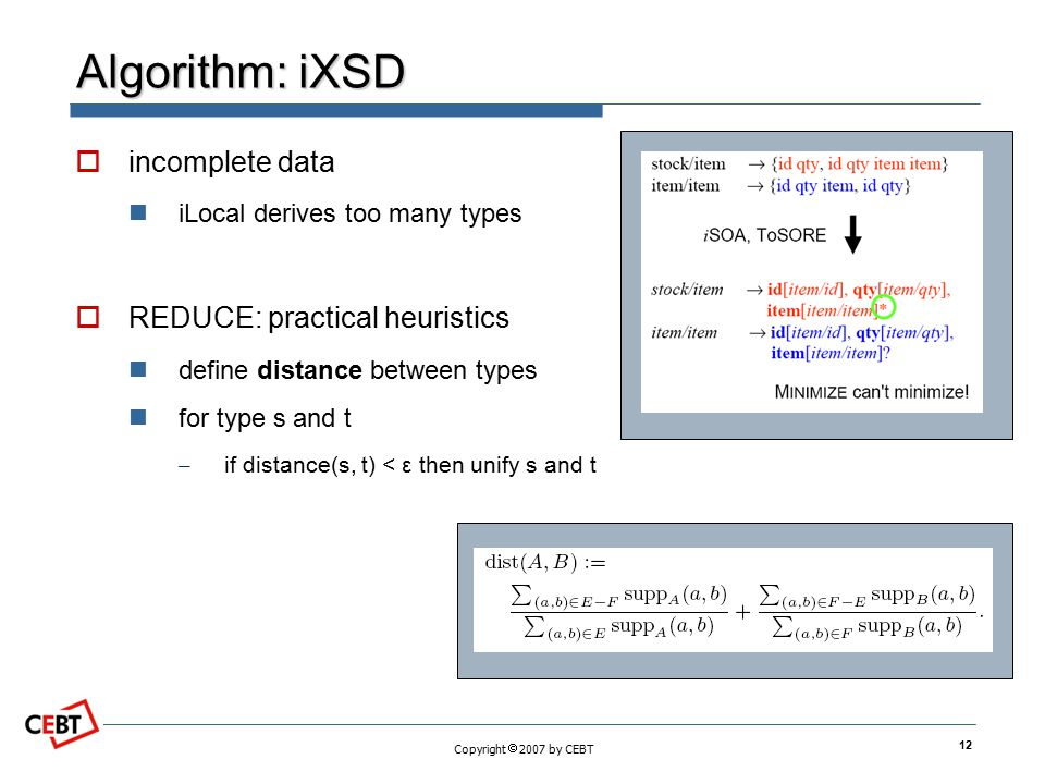 Algorithm: iXSD incomplete data REDUCE: practical heuristics
