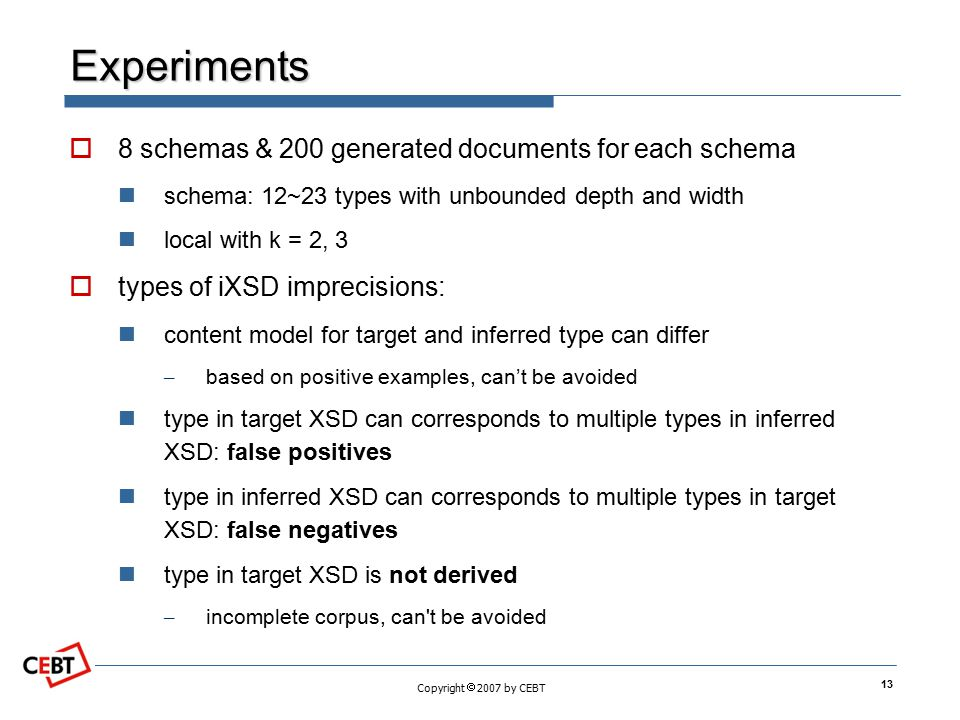 Experiments 8 schemas & 200 generated documents for each schema
