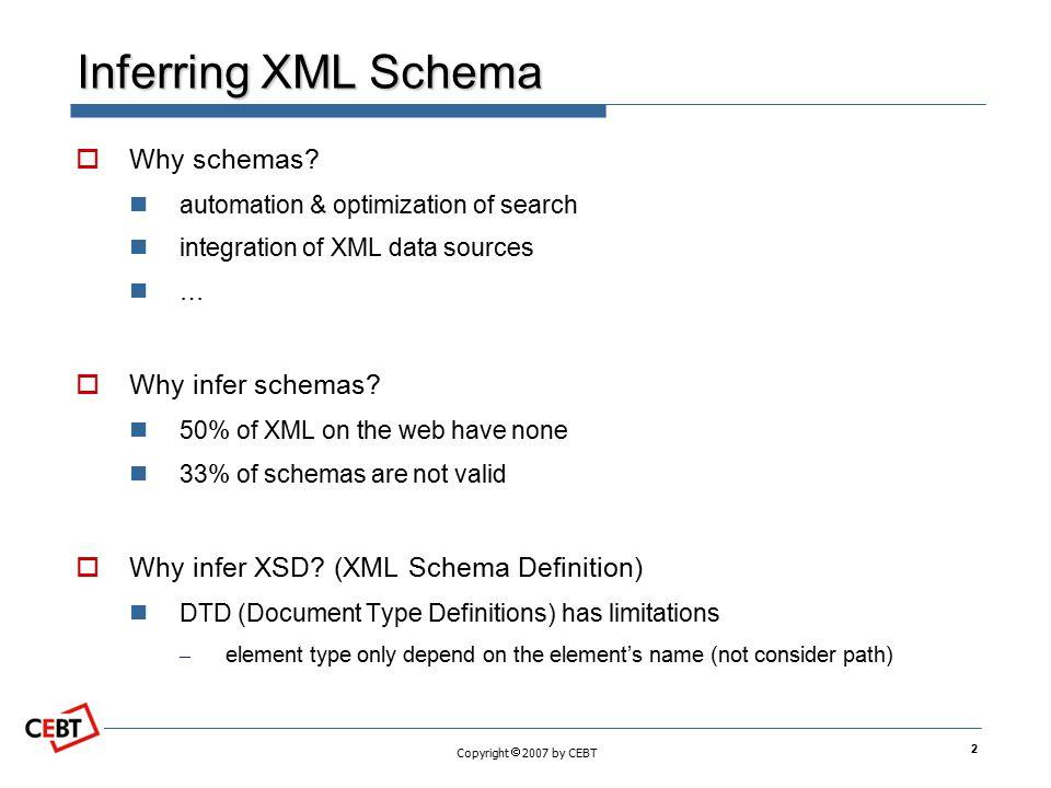 Inferring XML Schema Why schemas Why infer schemas