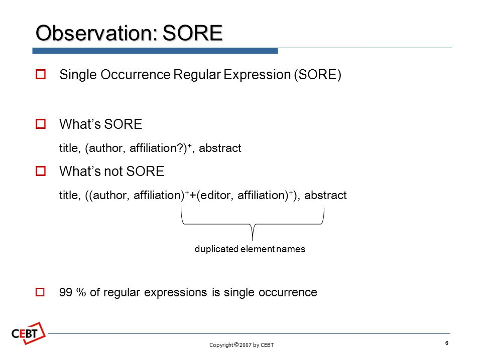 Observation: SORE Single Occurrence Regular Expression (SORE)