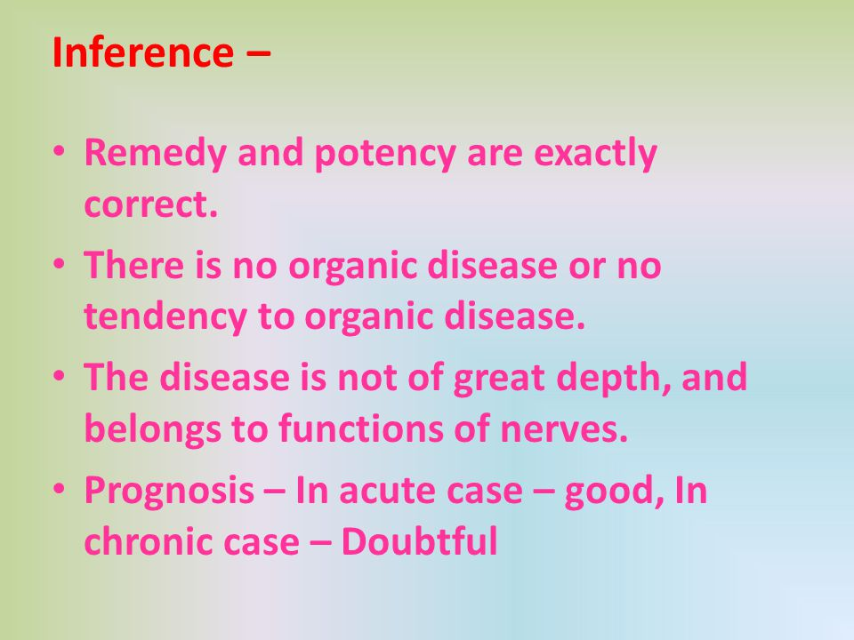 Inference – Remedy and potency are exactly correct.