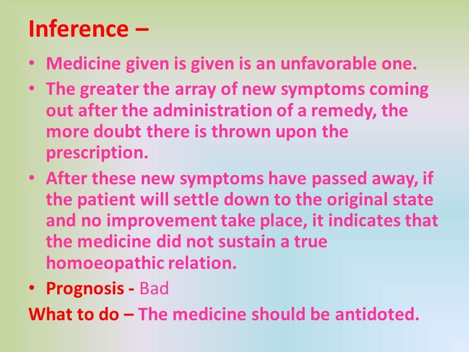 Inference – Medicine given is given is an unfavorable one.