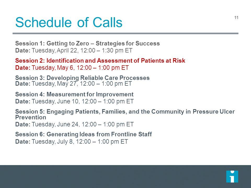 Schedule of Calls