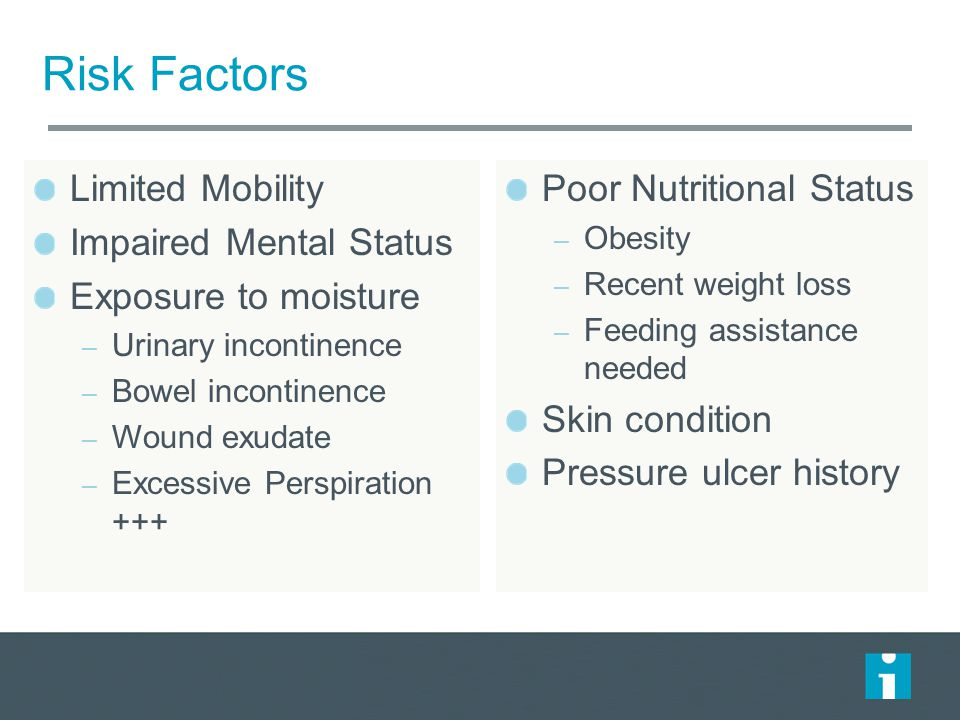 Risk Factors Limited Mobility Impaired Mental Status