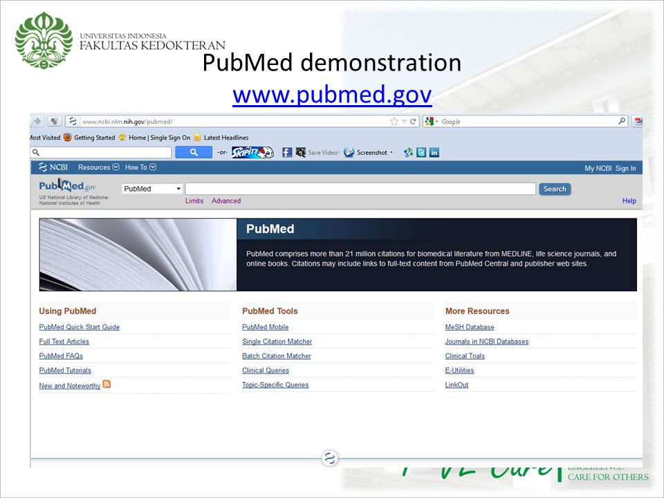 PubMed demonstration www.pubmed.gov