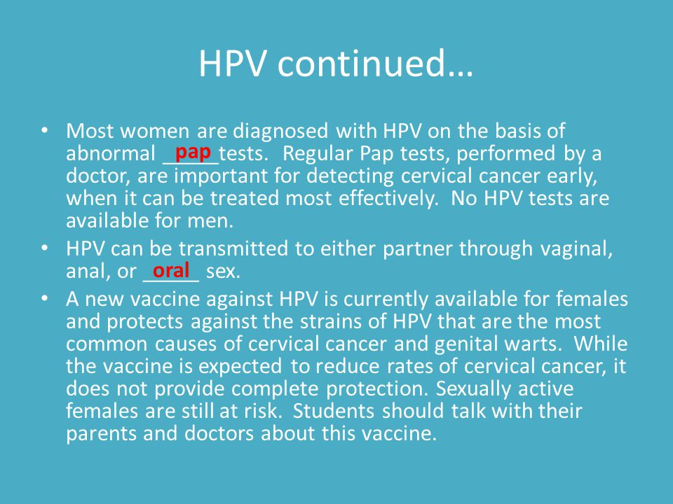 HPV continued…