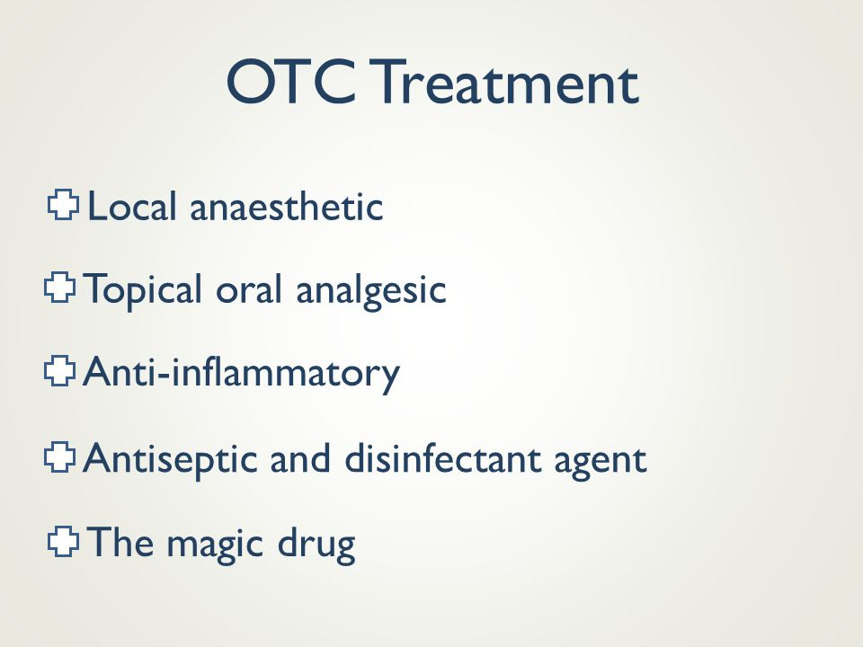 OTC Treatment Local anaesthetic Topical oral analgesic