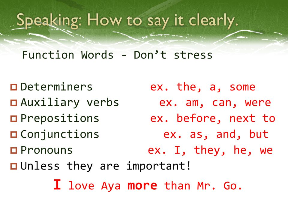 Speaking: How to say it clearly.