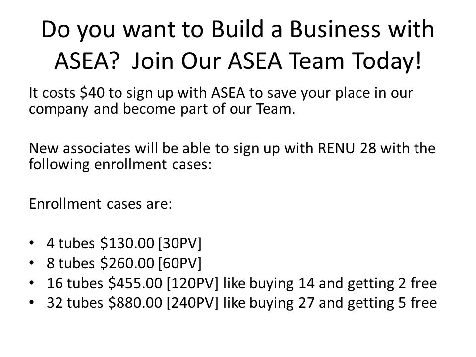 Do you want to Build a Business with ASEA Join Our ASEA Team Today!