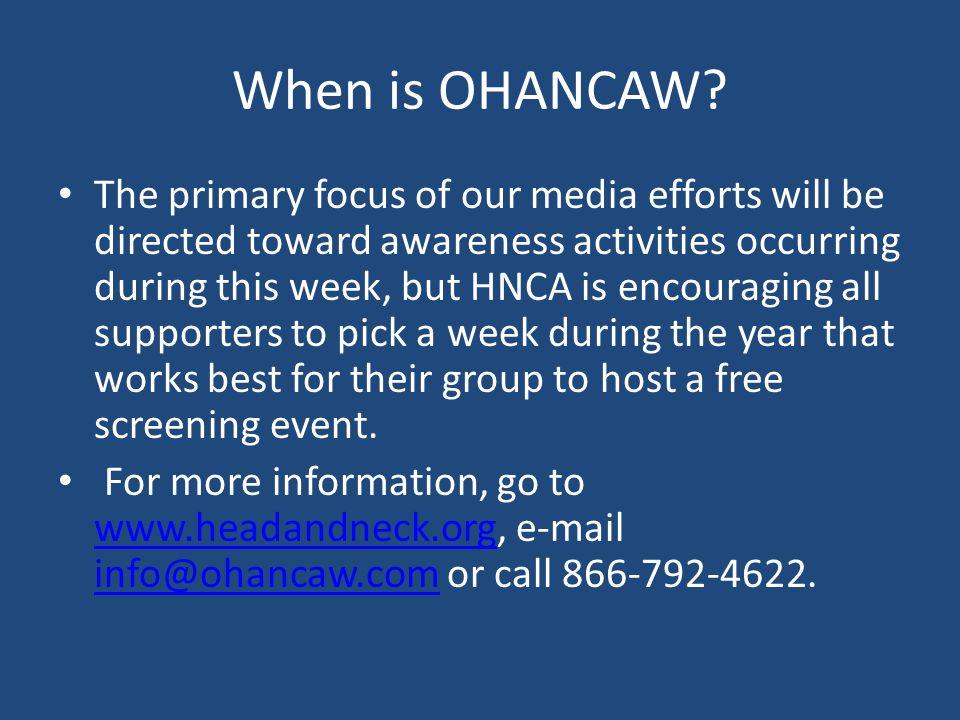 When is OHANCAW