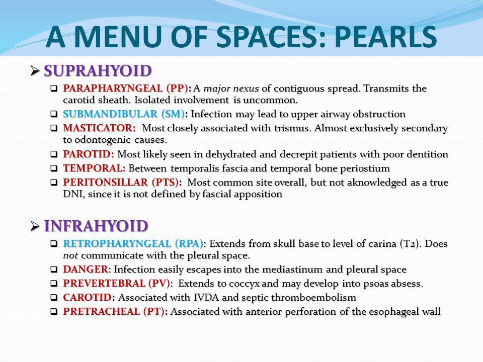 A MENU OF SPACES: PEARLS