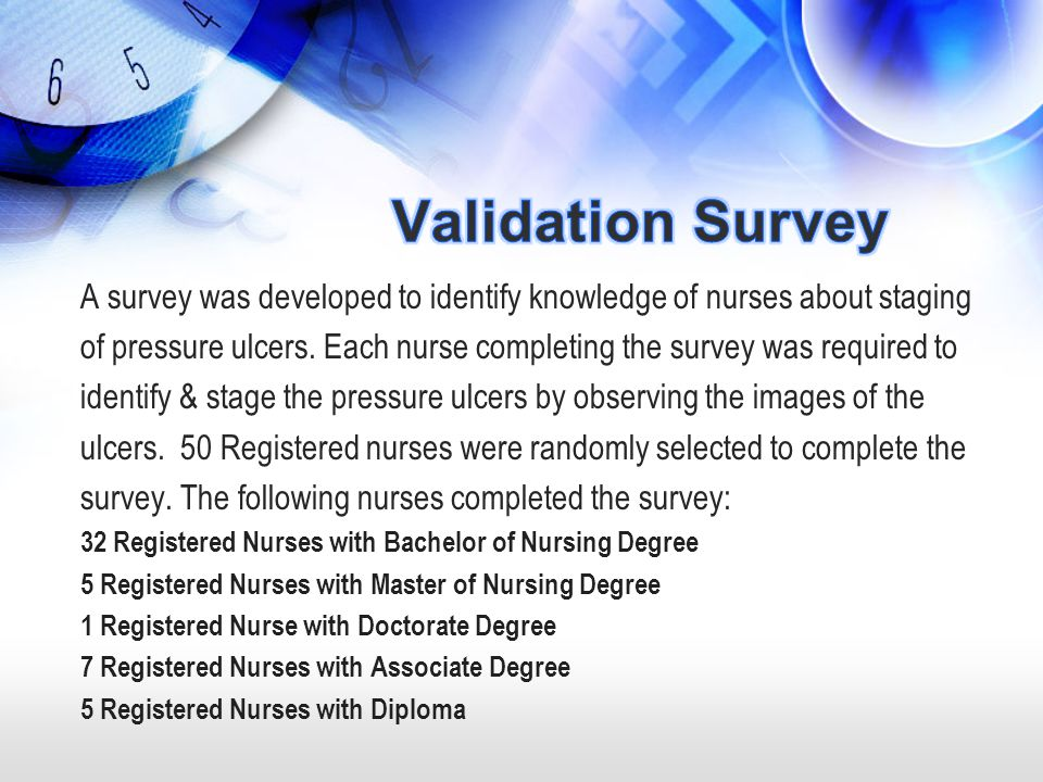 Validation Survey A survey was developed to identify knowledge of nurses about staging.