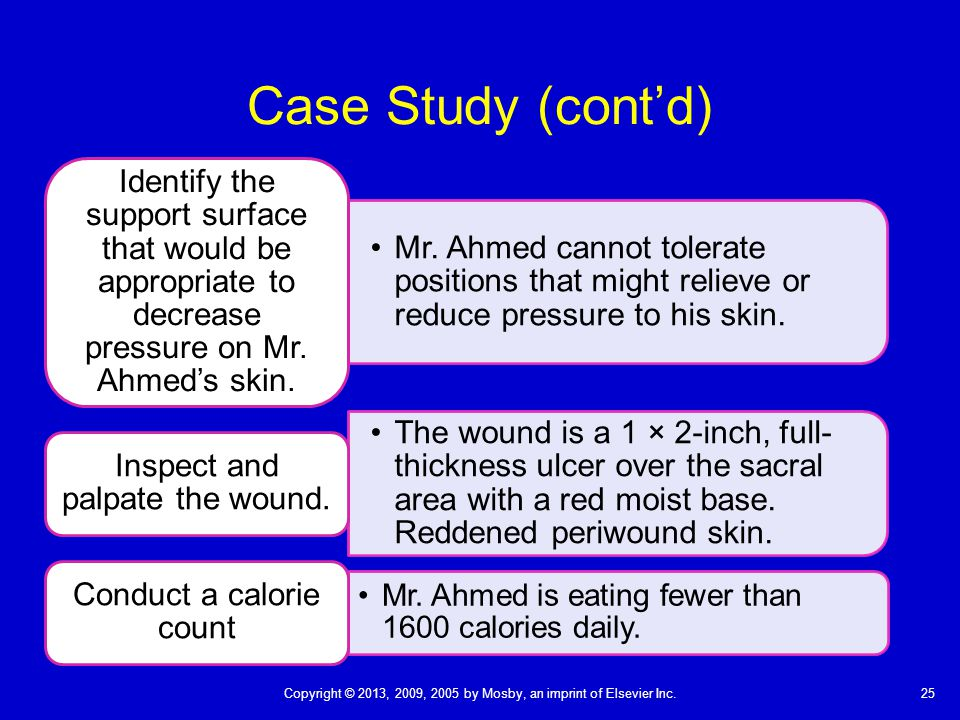 Case Study (cont'd) Identify the support surface that would be appropriate to decrease pressure on Mr. Ahmed's skin.