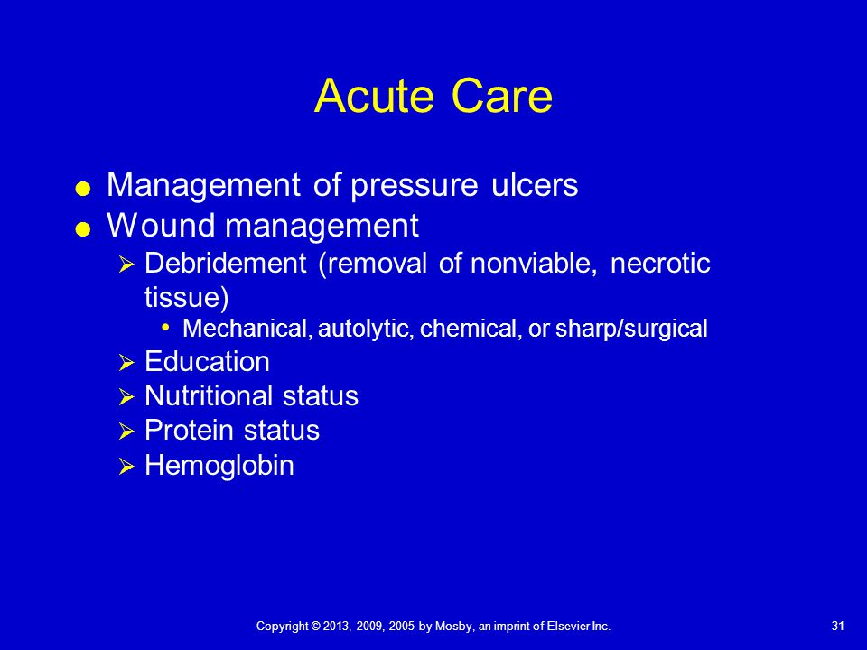 Acute Care Management of pressure ulcers Wound management