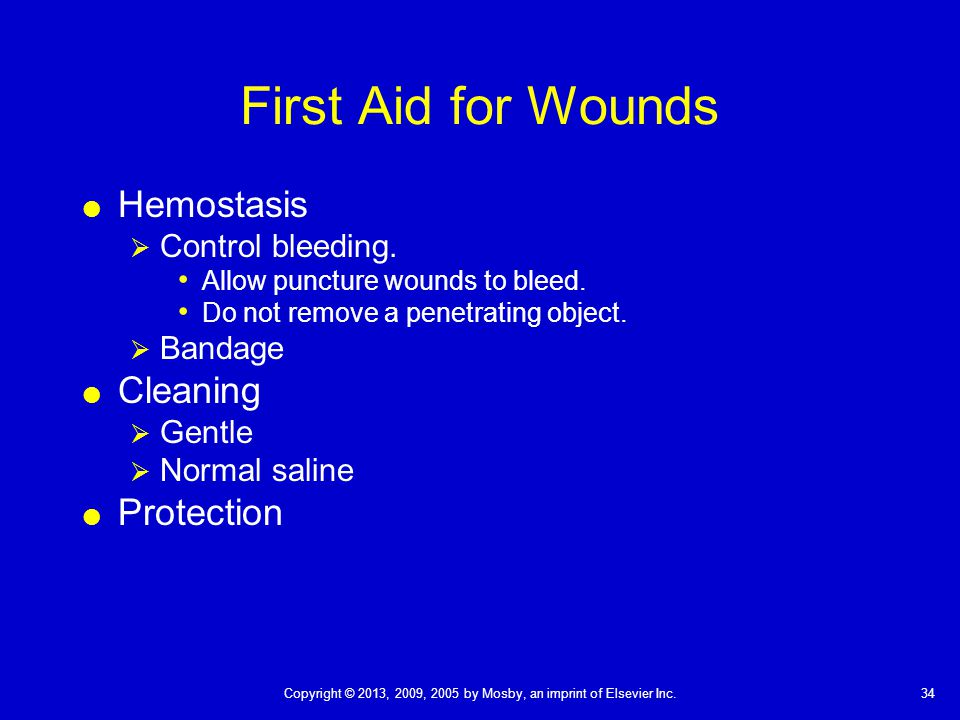 First Aid for Wounds Hemostasis Cleaning Protection Control bleeding.