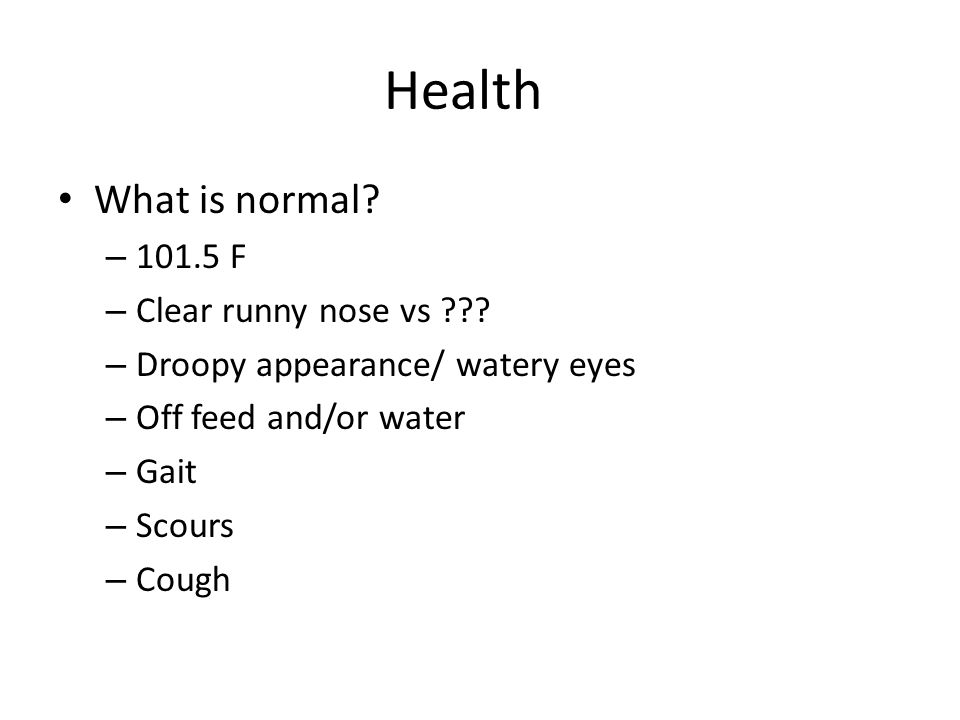 Health What is normal 101.5 F Clear runny nose vs