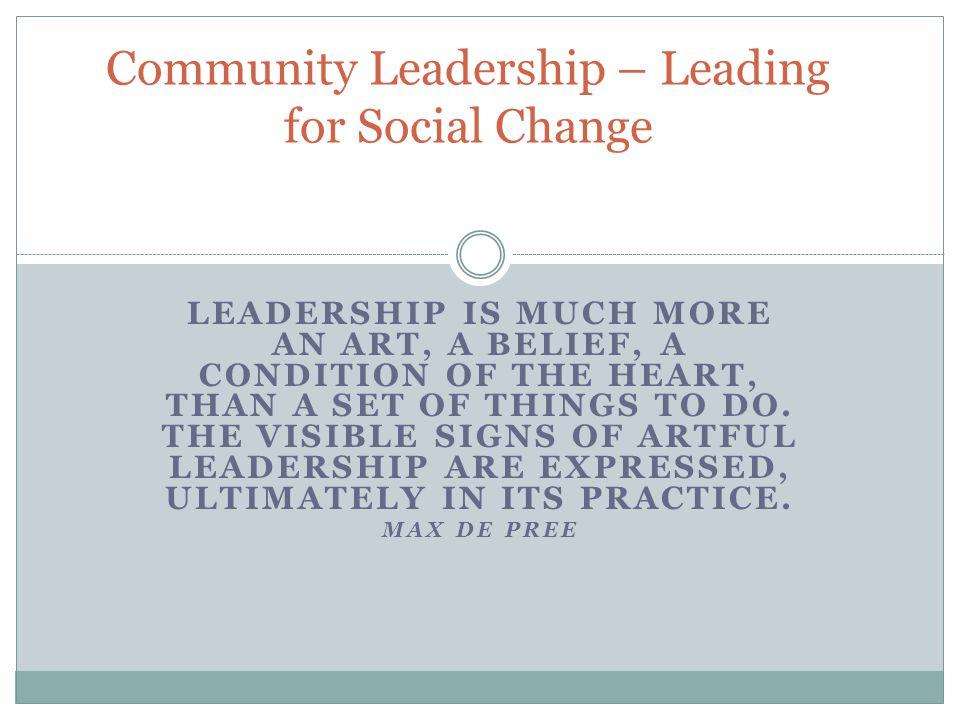 Community Leadership – Leading for Social Change