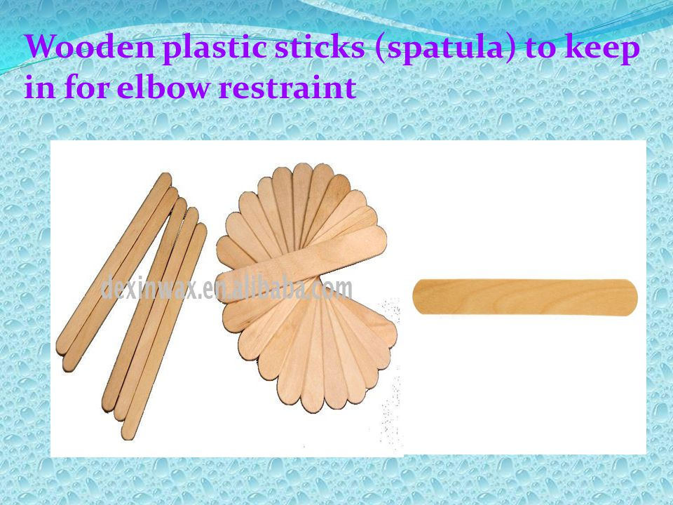 Wooden plastic sticks (spatula) to keep in for elbow restraint