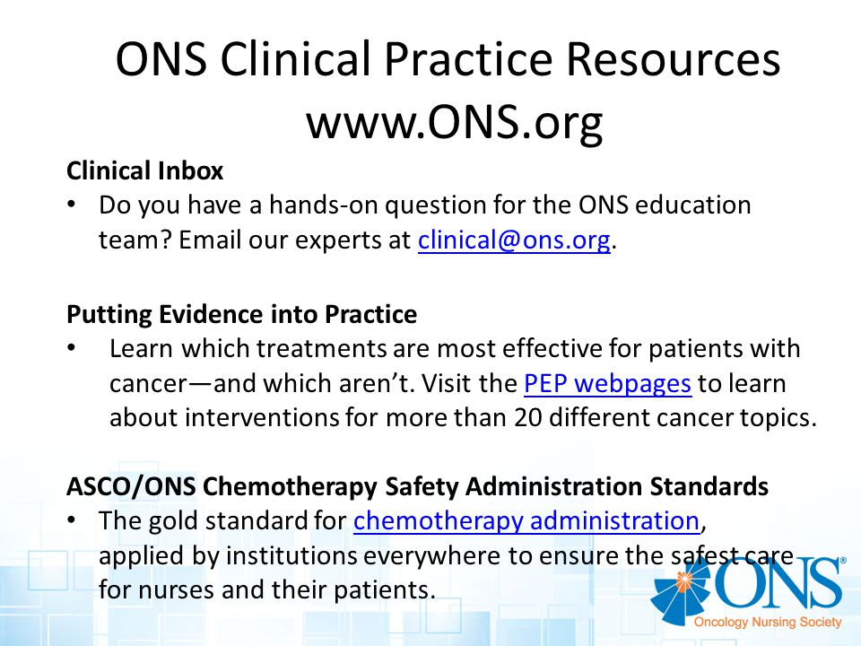 ONS Clinical Practice Resources