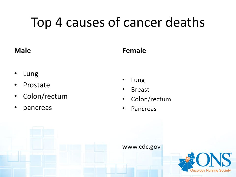 Top 4 causes of cancer deaths