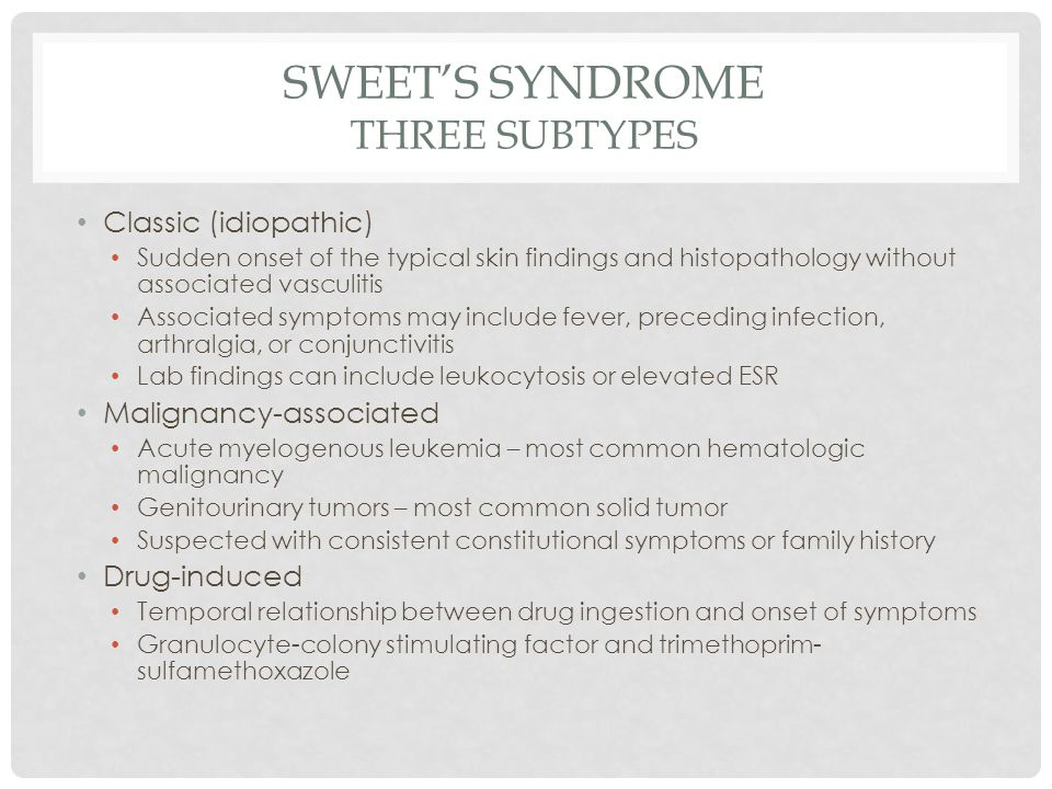 Sweet's Syndrome Three Subtypes