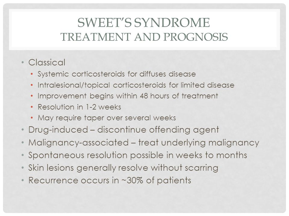 Sweet's Syndrome Treatment and Prognosis