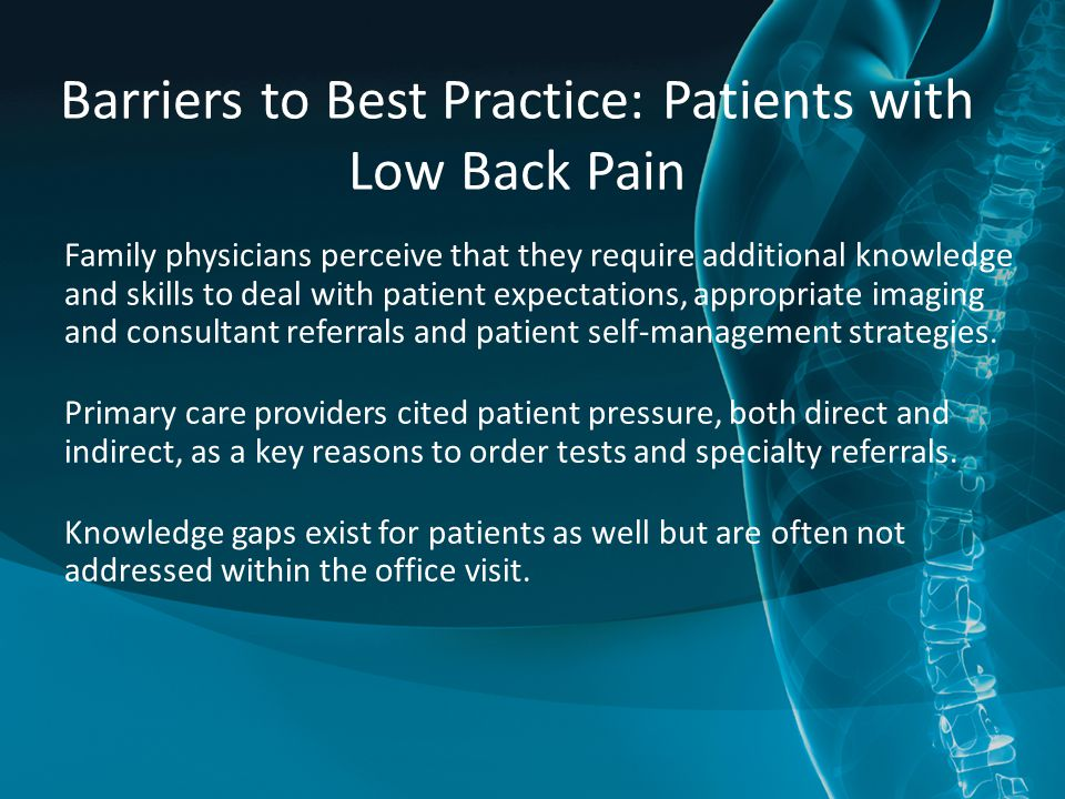 Barriers to Best Practice: Patients with Low Back Pain