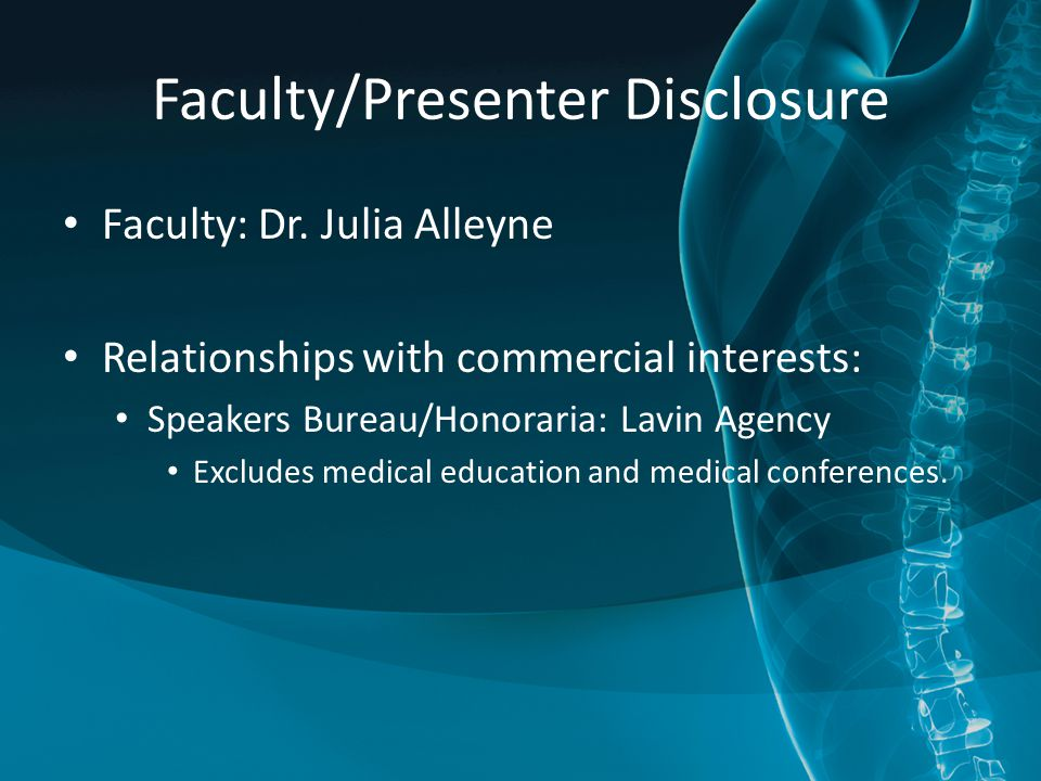 Faculty/Presenter Disclosure