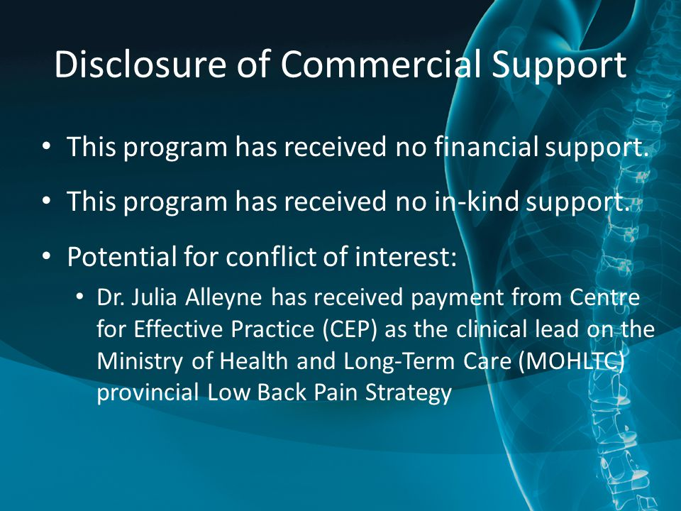 Disclosure of Commercial Support