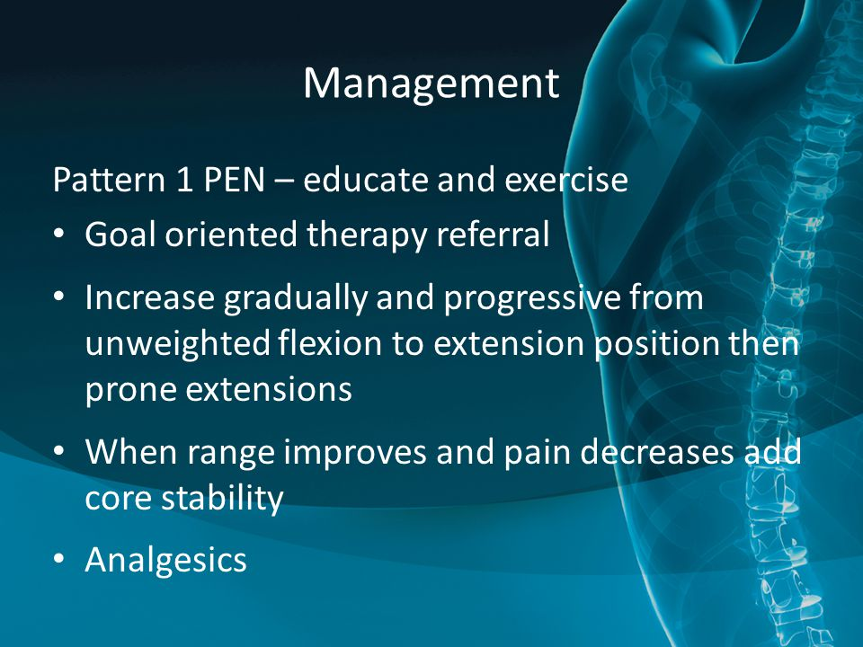 Management Pattern 1 PEN – educate and exercise