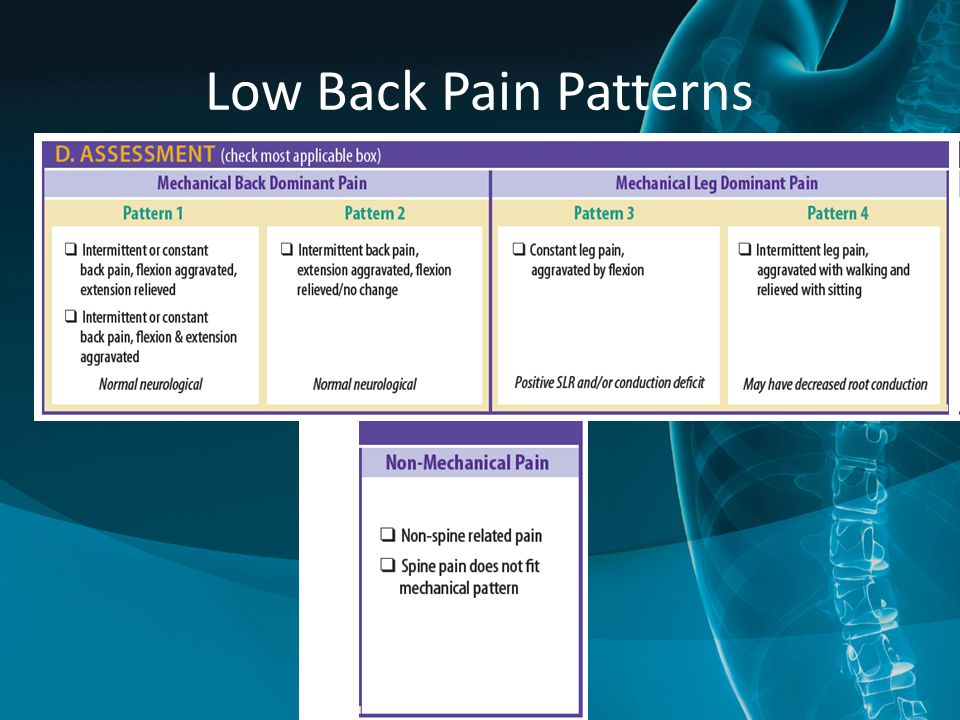 Low Back Pain Patterns Another option to see all of the options a little more clearly. 93