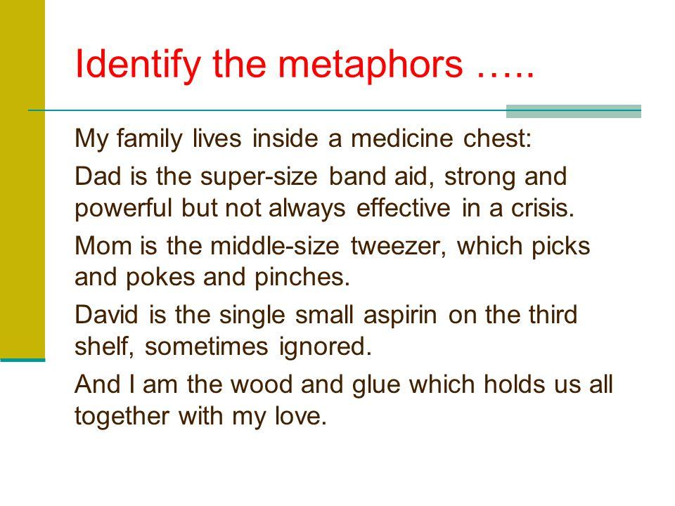 Identify the metaphors …..