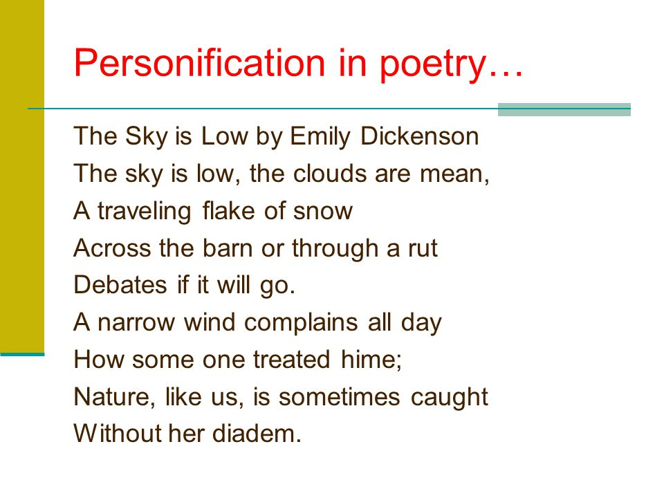 Personification in poetry…