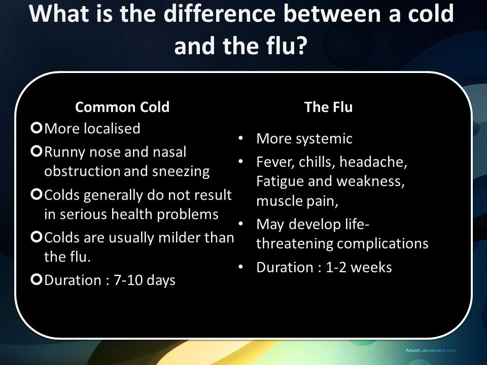 What is the difference between a cold and the flu