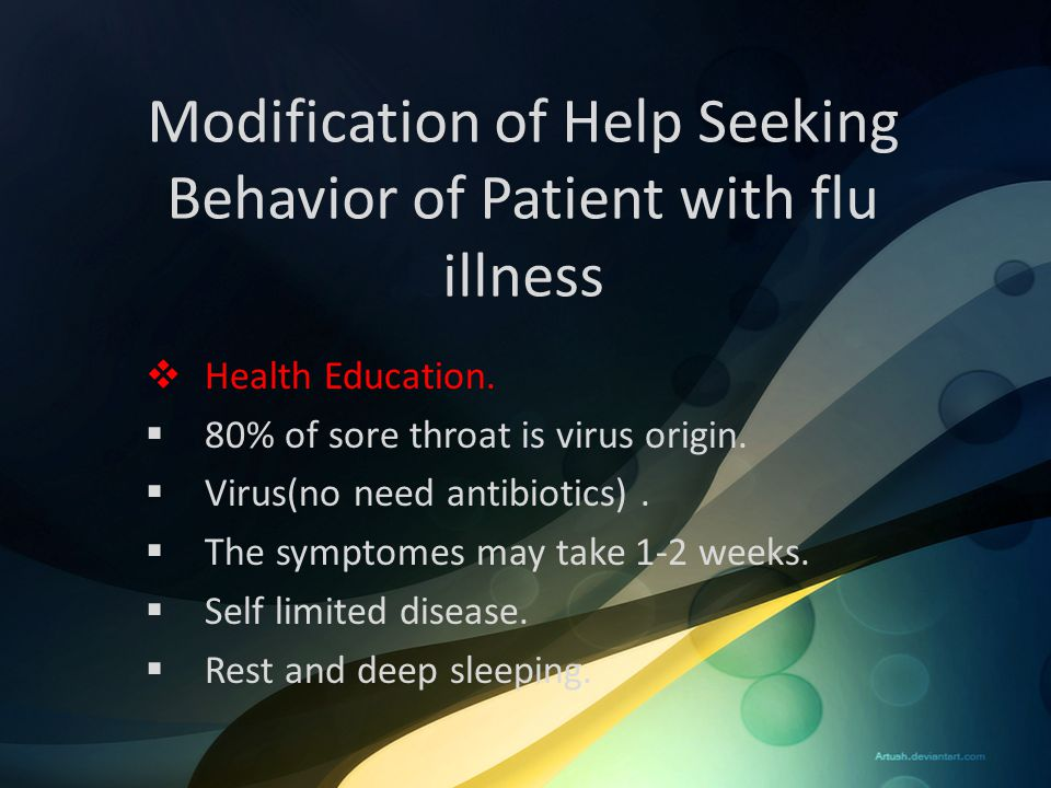 Modification of Help Seeking Behavior of Patient with flu illness
