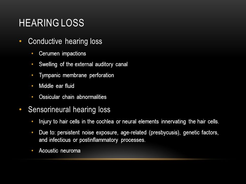 Hearing loss Conductive hearing loss Sensorineural hearing loss