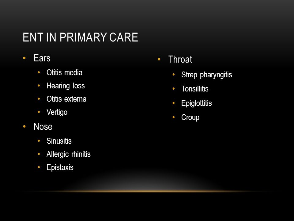 Ent in primary care Ears Nose Throat Otitis media Strep pharyngitis