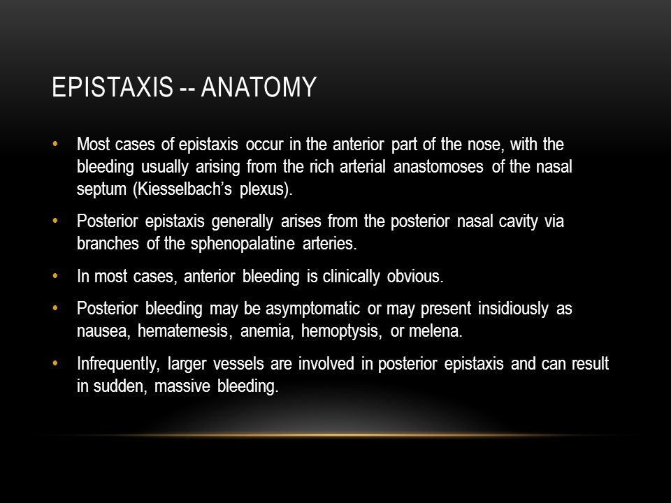 Epistaxis -- anatomy