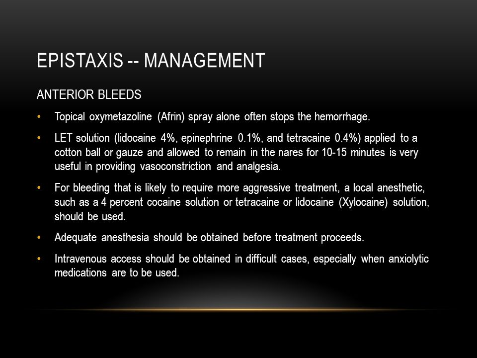 Epistaxis -- management