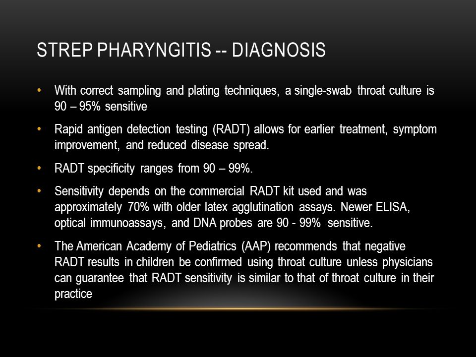 Strep pharyngitis -- diagnosis