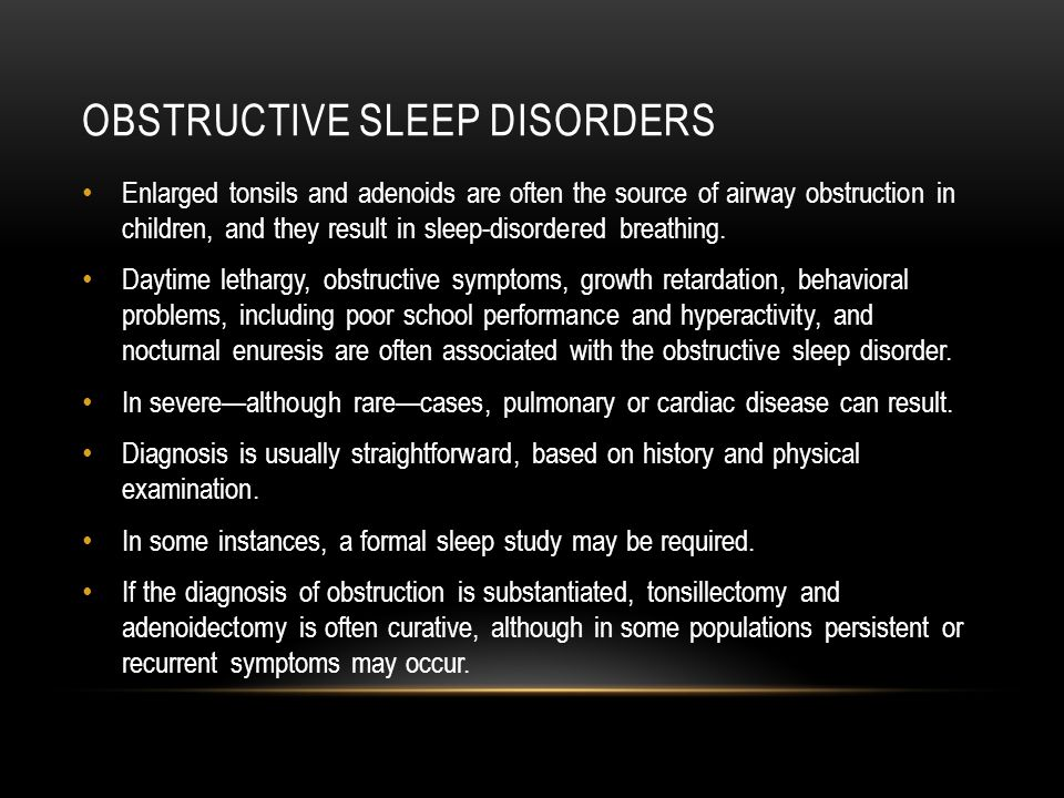 Obstructive sleep disorders